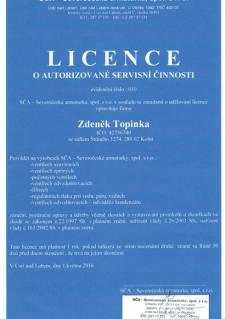 Licence o autorizované servisní činnosti - SČA